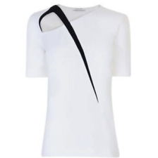 MUGLER Cut-Out White Crepe Black Strap Top Blouse *NWT* - UK 8