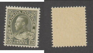 MNH Canada 20c Olive Green KGV Admiral Stamp Dry Printing #119 (Lot #20125)