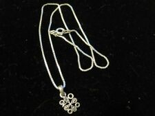 MARCASITE PENDANT on Dainty STERLING SILVER Box Link Chain Baby Necklace WOW