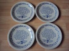 4 DDR Fischteller beschriftet mit Rezept -  - Fischteller Made in GDR  = 19,5 cm