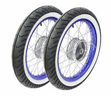 Paar Kompletträder blau Weisswand Reifen pas. f Simson S51 S50 S53 Schwalbe Star