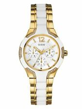 New Guess Ladies U0556L2 Round Dial Stainless White-Gold IP Band Watch