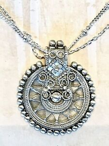 """NEW Sundance Catalog 18"""" Sterling Silver Beaded Pendant Double Chain Necklace"""