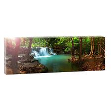 Panorama Leinwand Bild Natur Wald Landschaft  XXL 150 cm* 50 cm Wasserfall 702