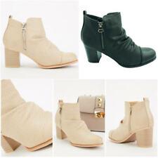 Mujer de las Señoras Botas al Tobillo Bloque De Pliegue Imitación Cuero Cremallera Zapatos Talla Vaquero