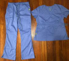 Vivi Womens Blue Scrub Set Split Leg Pant L Tie Waist Top Xl New! Must See!