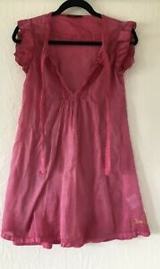 LUXE RAER Italian designer beautiful vibrant pink sheer cotton dress size 42