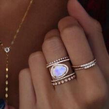 Antique 14K Rose Gold/Silver Irregular Natural Moonstone Ring Size 5-10 Wedding