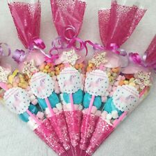 6 X Pink Unicorn Themed Pre Filled Sweet Cones Personalised + Free Sweety Bag