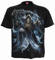 Spiral Ghost Reaper Men`s Black Biker T-Shirt Soul Skull Death Gothic Punk Rock