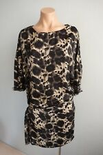 Zara 3/4 Sleeve Round Neck Tie Hips Leopard Print Mini Dress sz S