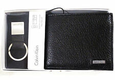 $45.00 CALVIN KLEIN  Men's Leather Bifold Wallet Black and Key Fob Set ! SALE !