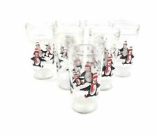 Vintage Set 7 Anchor Glass Penguin Christmas Jelly Jar Glasses