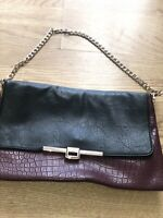 Shoulder Bag With Chain Black And Burgandy
