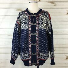 Dale Of Norway Navy/White/Red Wool Fair Isle Heavy Knit Cardigan Sweater. Size M