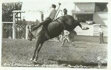 Pendleton OR Rodeo Bud Linderman on Cherokee Real Photo Postcard Devere Helfrich