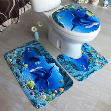 3 tlg. Badgarnitur Badezimmer Matte Set Dusch Bade Matte Vorleger Teppich Toilet