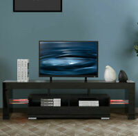 "63"" TV Stand Unit Cabinet Modern w/LED Shelve 2 Drawer Console Storage Furniture"