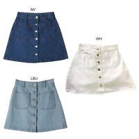High Waist Button Denim Skirt Slim Pencil Short Mini Skirt Women Ladies HOT