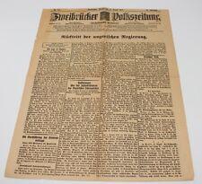alte Zeitung Zweibrücken, Zweibrücker Volkszeitung, 25.08.1919 #H294
