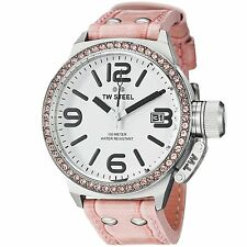 TW Steel Canteen 45mm White Dial Crystal set Bezel Leather Ladies Watch TW36