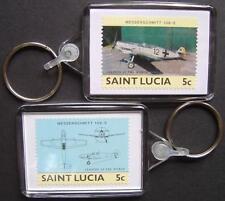 Luftwaffe MESSERSCHMITT Bf-109 Fighter WWII Aircraft Stamp Keyring (St Lucia)