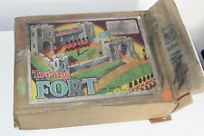 rare vintage lines bros tri-ang wooden + plaster toy fort boxed for soldiers