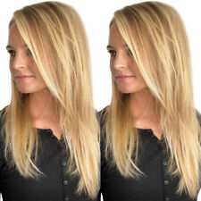 Women Long Straight Gold Blonde Full Head Wig Ladies Natural Hair Wigs Cosplay