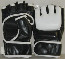 MMA Safety Sparring Gloves in Genuine Leather Quality. Blue/Black, Free Shipping