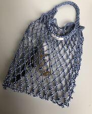 original Celine Net bag Netztasche Beutel Beuteltasche blau/weiß