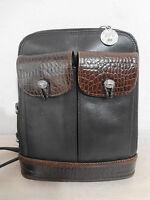Brighton One World Black Leather Brown Mock Croc Shoulder Bag Handbag Purse