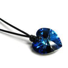 Swarovski Elements Crystal Heart Pendant 1mm Black Leather Adjustable Necklace