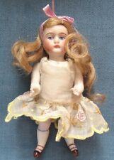 Original, vintage bisque girl doll in sheer dress with movable arms & legs (23)