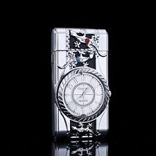 Multifunctional Cigarette Lighter Silver Quartz Watch For Men