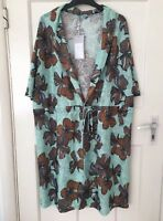 ZARA SEA GREEN FLORAL PRINT TEXTURED TUNIC DRESS SIZE XL BNWT