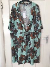 Zara Sea Green Floral Print Textured Tunic Dress Size XL