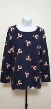 BNWT Joules Harbour Print Long Sleeve Jersey Top T -Shirt Navy Posy Size UK 14