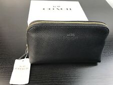 NWT COACH BLACK Crossgrain Leather Cosmetic Pouch Case F53386