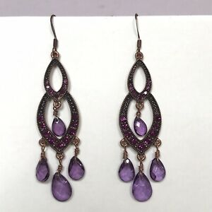 Chandelier Style Earrings With Purple Diamanté And Faceted Bead Drops