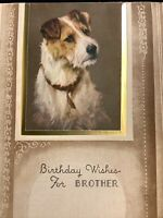 "#1997🌟Vintage 40s ""Birthday Wishes For Brother"" Schnauzer Dog Greeting Card"