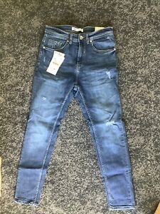 Zara Mens Skinny Jeans Blue Rinse Wash Bnwt Siinny Cropped 30/30 Leg