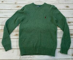 Men's Ralph Lauren Polo Green Merino Wool Winter Sweater - S