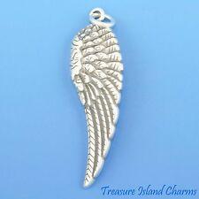 ANGEL WING LARGE RIGHT .925 Solid Sterling Silver Charm Pendant 31x10mm