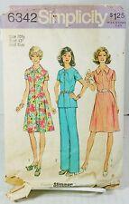 Simplicity 6342 Sewing Pattern 1970s Dress Princess Seam Plus Size 20.5 Bust 43