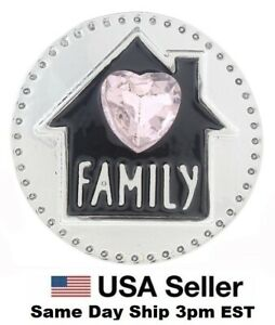 Snap Jewelry Family Love Pink Heart Home fits 18-20mm Ginger Charms Accessories