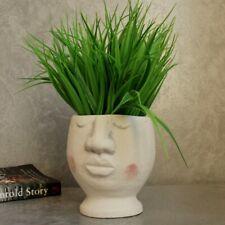 Large White Face Head Concrete Pot Planter 14cm Indoor Outdoor Garden Home Decor