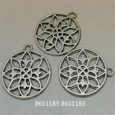 12pc Tibetan Silver flower Pendant Bracelet Charms Jewelry Accessories GP838