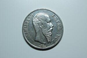 Silver 1 Peso 1866 Mo Emperor Maximilian I. Coin Mexico Casa de Moneda de México