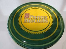 "Purina Biscuits Metal Tin 8""Tall X 6""Diameter Green Dogs Yorkie Golden Beagle"
