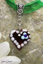Glass Jewels Silber Kette Lebkuchenherz Oktoberfest Anhänger Lampwork #MA057